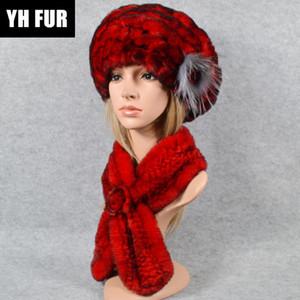 Kadınlar Kış 2 adet Örme Gerçek Rex Kürk Şapka Eşarp Rex Kürk Cap Atkılar Doğal Panço Şapka ayarlar