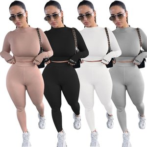 Mulheres Sólidos Casual Fatos Two Piece Sportswear Básico magro Define Moda Slim Fit Suits Long Sleeve Tops Long Pants