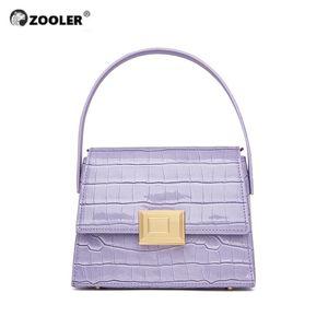 ZOOLER Marque main en cuir véritable femme sacs d'épaule poignée sur le dessus Sacs à main Totally peau sacs de dames Violet Nouveau mode de bolsos