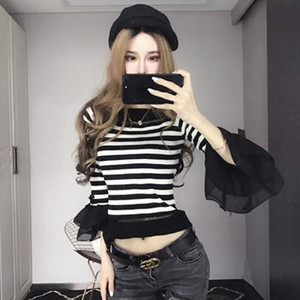 Sweet Striped Ruffles Sweater Knitted Shirts O Neck Flare sleeve Stitching Bowtie Pullover Stitching Tops 2018 spring