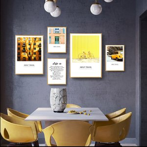 Sarı Renk Modern Bina Araç Bisiklet Tuval Poster Boyama ve Salon Ev Dekorasyonu için Wall Art Pictures Gallery Baskı