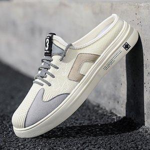 Новая Повседневная обувь для мужчин-Mesh Дышащей Половина тапочки Мужчины Серого Бежевого Mens конструктора кроссовок Half Drag молодых случайных мужчины обуви