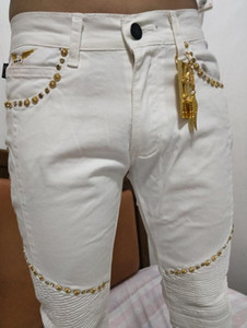 Rivet Hommes Jeans Jeans Skinny Robin Fashion Slim Moto Moto Biker causales Hommes Denim Pantalons Hip Hop Hommes Jeans blanc