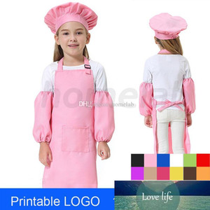 3pcs set Children Kitchen Waists Kids Aprons with Sleeve&Chef Hats for Painting Cooking Baking 12 Colors Printable OEM 58*40cm
