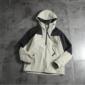Alta calidad mujeres de los hombres de la chaqueta rompevientos cremallera sudaderas remiendo ocasional de la capa de abrigo Street Deportes corriendo chaquetas basculador 9 colores S-XXL