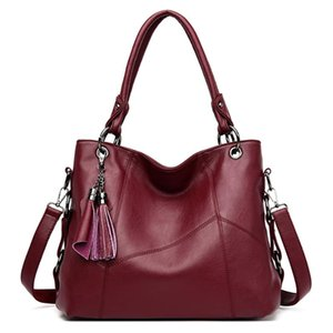 Cuero suave LONOOLISA lujo de las señoras de la borla de la mano bolsas de mano de gran capacidad Cruzado Bolsas para mujeres 2020 bolso casual