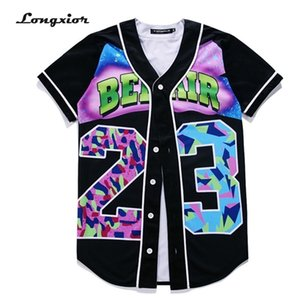 MTS130A Mens 3D T-Shirts Buttons Homme Streetwear Tees Shirts Hip Hop Bel Air 23 - Fresh Prince Custom Made Baseball Jersey Tops 0921