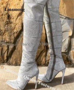 Linamong más nuevo Bling Bling punta estrecha Rhinestone talón de estilete botas hasta la rodilla de lujo Durante largo cristalino de las botas de alto talón talones
