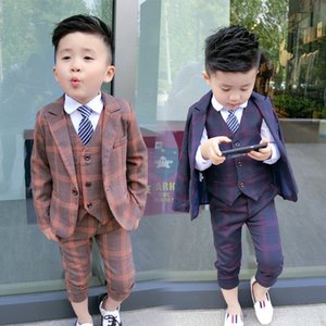 New Boys Formal Suits for Wedding Brand England style Kids Fashion Party Tuxedos Boys Gentlemen Blazer Vest Pants 3PCS Suit Set