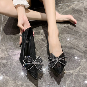 2020 nouvelle dentelle respirant Stiletto Heels design femmes talon aiguille Pointu Toe Escarpins Robe de soirée cristal Bow Pumps Femmes Chaussures Black Gold