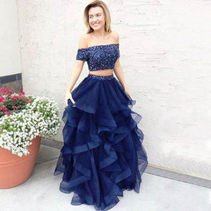 Two Pieces Blue Prom Dress Off Shoulder Short Sleeve Sparkly Top Ruffles Skirt A Line Party Gowns Sweep Train Custom Size