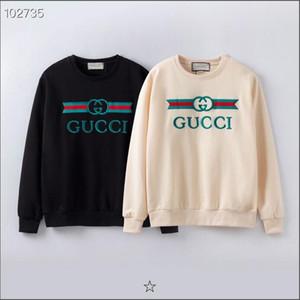 GUCCI marca suéter bordado de la calidad sudaderas con capucha de los nuevos hombres de la manga larga del O-cuello del suéter de terry sweatershirts sudaderas tamaño S-XXL