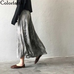 Colorfaith New 2020 Women's Skirts Summer Casual Vintage High Waist Ankle-Length Lace Up Satin Leopard Trumpet Skirts SK0313