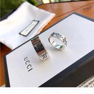 kutu hediye ile G moda lüks kaliteli ince gümüş Gucci kafatası Aşıklar halka Damga Halka İçin Kadın Erkek Takı Düğün