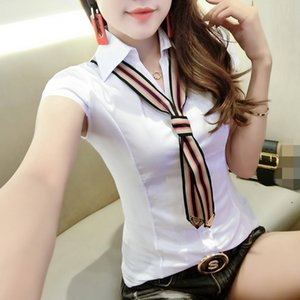 Sommer Striped Bowknot Krawatte Bluse koreanische Kleidung Frauen Knopf Cardigan Cotton Shirt Kurzarm Ropa Mujer Top 2020 New T04404