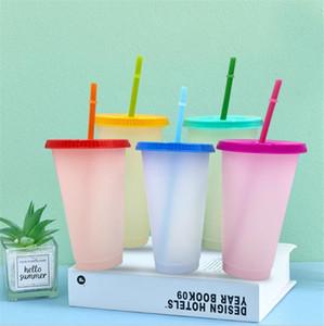 Straw Ecofriendly kahve Tumbler Seyahat soğuk su bardağı 5pcs Tumbler Değişen 700ml Renk değiştirme fincanlar 24 oz Soğuk Bardaklar Beyaz Renk / set