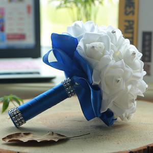 Пользовательские свадебные ручной работы с цветами Многоцветный Romantic пены Цветы Свадебные букеты PE Роза невесты Обручальное