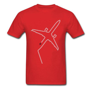 Крупногабаритные Мужчины Tshirt Air Plane Печать тенниска хлопка тенниски инверсионных Незначительные задержки подарка День отца Красная Одежда тройники L