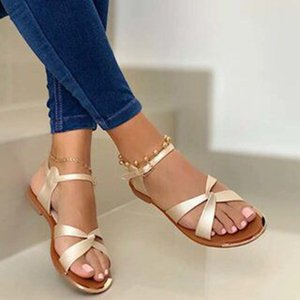 Лето Женщины Flat Sandals Золото Open Toe пляжная обувь Гладиатор Крест Strappy дамы сандалии Zapatos Mujer Chaussure Femme
