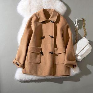 Cthink printemps laine vierge Solid Regular Femmes Manteau Bouton Mode Corne Double Rouge Noir Kaki boutonnage Manteaux Pour Femme