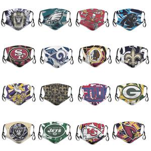2020 nouveaux hommes et femmes 5 couches Masques anti-poussières hommes et les femmes de rugby équipe Cardinals Chiefs Jets Eagles Fashion Guide Football Réutilisable Masques Visage