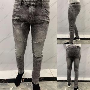 Designee Mode Mens Slim Bein Jeans Qualitäts-Schwarz-dünner Sitz Spliced zerrissene Jeans-High Street zerstört Biker Denim Jeans 29-38