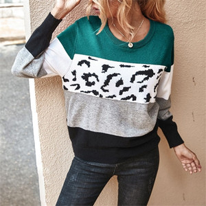 Autumn Leopard Spliced Sweater For Women O-Neck Pullover Casual Womens Sweaters 2020 High Quality Knitted Fashion Ladies Sweater 0925