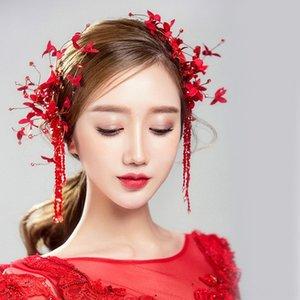 Kore gelin Kızıl Kristal boncuklu saç aksesuarları Boncuklu Şapkalar Flower headdress el yapımı çiçek headdress düğün tost c saç tokası el yapımı