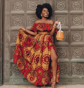 Abiti africani 2020 Notizie Ankara stile africano Abbigliamento Dashiki Stampa Party Top Gonne piuma di modo per le donne Robe Africaine