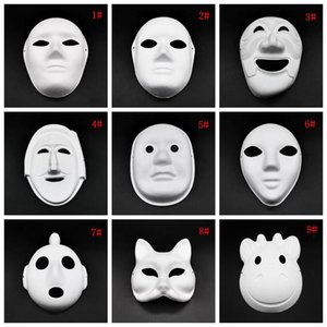 Máscara Máscaras Halloween rosto cheio DIY pintados à mão Pulp Gesso coberto Papel Mache máscara em branco máscaras brancas do disfarce Plain Partido DBC VT1088