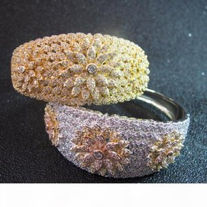 wholesale high quality designer cuff cubic zirconia paved FLOWER bangle 18K gold plated bracelets for women or men