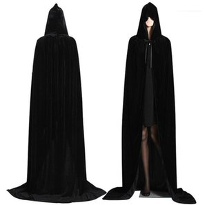 Festival Cosplay Party Cloth Adult Halloween Necromancer Costumes Retro Style Pure Color Funny Halloween Theme Cloak