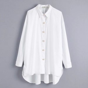 women solid color pearl buttons casual smock blouse shirts women long sleeve loose blusas elegant white femininas tops LS4232 200925