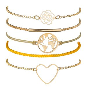 Simple hollow-out Big Love rose bright yellow soft rope world map five-piece bracelet