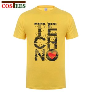 I Love Techno camiseta de los hombres Music T personalizada camisa del traje adolescente cuello redondo original Detroit Techno Tops Camiseta personalizada