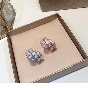 Lüks Moda Markası Takı Lady Pirinç Tam Elmas Çift Yılan Yılan 18K Altın Düğün Nişan Açık Rings 3 Renk Circles