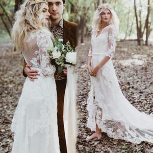 2021 Boho Wedding Dresses 1 2 Half Sleeves Lace Illusion Back High Low V Neck Custom Made Country Wedding Bridal Gown robe de mariée