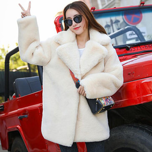 Winter Women High Quality Faux Rabbit Fur Coat Luxury Fur Coat Loose Lapel OverCoat Thick Warm Plus Size Female Plush Coats 200921