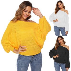 2020 New Women's Off Shoulder Batwing Sleeve Ribbed Shirt Loose Pullover Tops,Fashion Slash Neck Oversize Casual Loose Pullover Sweater