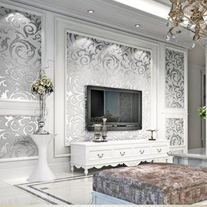 El papel para pared gris 3D en relieve del papel pintado del damasco del Victorian del rollo Decoración de la sala dormitorio Revestimientos floral de plata de lujo
