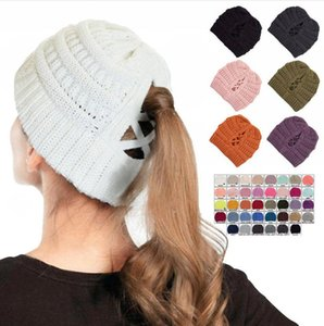 Knitted Ponytail Hat Women Winter Beanie Skullies Cross Cap Headgear Warm Wool Caps Girl Knitting Bonnet Beanie Party Hats LJJP572