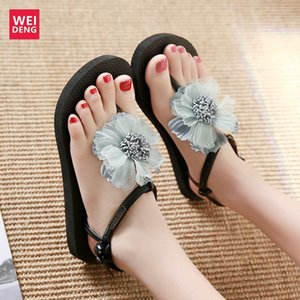 Flip Flops Weideng handgemachte Blumen-Schnalle Frauen Flats Sandalen leichte bequeme Dame Seaside Beach Schuhe