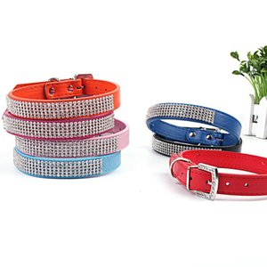 Collare di cane in pelle con strass PU strass Fibbia Collari strass collare Dog Supplies 7 colori DHE1315