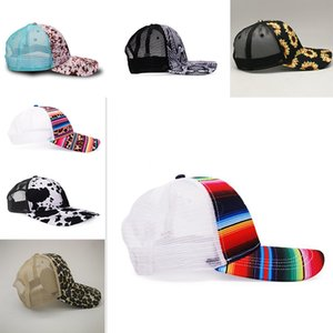 7 style Snake Baseball Hat Cow Print Leopard Sunflower Caps Serape Mesh Cap Fashion Striped cactus Hats Outdoor Sunhat DB026