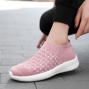 2020 Women Shoes Knitting Sock Sneakers Women Spring Slip on Flat Shoes Plus Size Loafers Flats Walking Casual Solid