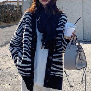 20190921 cardigan l'automne et l'hiver des femmes nouveau grand manteau lâche de longueur moyenne