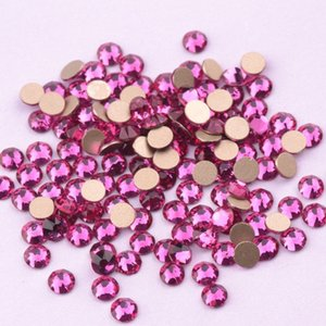 Zziell New 2,088 corte escuro Fuchsia Rose vidro strass 16 Facetas 8 + 8 Nail Art Non Hotfix Strass Nails Phone Case 5i9g Para #