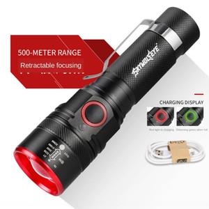 Sirius göz T6 teleskopik flashlightflashlightflashlight USB ch odaklama T6 teleskopik açık gece balık Sirius göz USB şarj odaklama