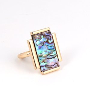 Wholesale 10 Pcs Popular Gold Plated Rectangle Shape White and Colorful Shell Finger Ring for Gift Jewelry