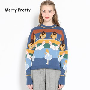 Hot Sale Merry Pretty Women Thick Warm Sweaters Embroidery Student Jumper Knitted Pullovers Female Drop Shoulder Sweet Funny Sweater